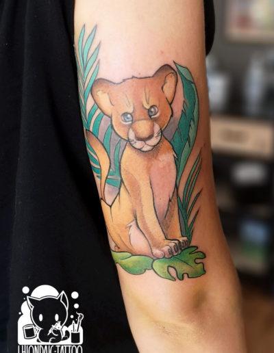 Löwenjunge Kindertattoo