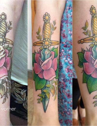 Old school Schwert mit Rose Coverup